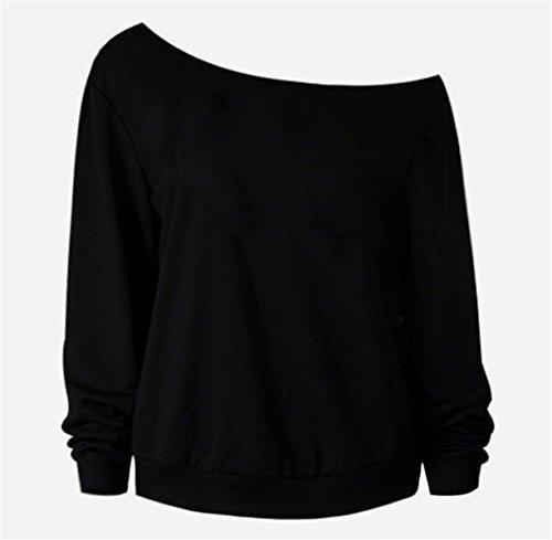 EMIN Damen T-Shirt Oberteile Rundhals Baumwolle T-Shirt Bluse Langarm Oberteil Rot