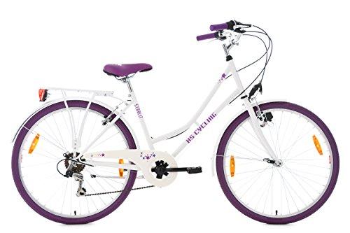 KS Cycling Mädchen Kinderfahrrad Starlit RH 43 cm Fahrrad, Weiß/Lila, 26