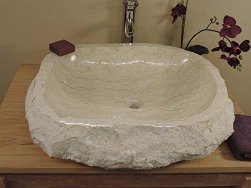 Grande sottolavello di bagno da tavolo roc in marmo crema