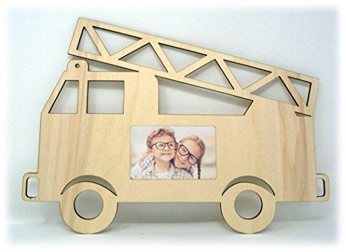 Feuerwehr Echtholz Bilder-Rahmen Tür-Schild für das Kinderzimmer Babyzimmer für Mädchen und Junge Babys - Auch zum selbst bemalen geeignet