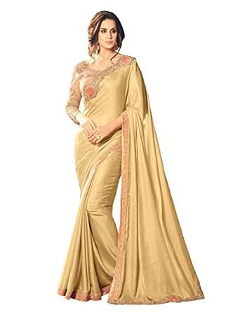 Takshaya Sarees Women's Silk Saree With Blouse Piece (19006_Cream)