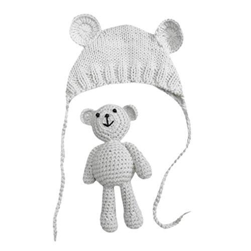 Babybekleidung Hüte & Mützen Longra Baby Mädchen Jungen Fotografie Stütze Mützen Foto Häkeln Strick Kostüm Bär + Hüte Set(0-6Monate) (White)