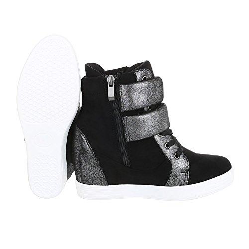 Sneaker High-top Scarpe Da Donna Tacco Alto Con Zeppa / Zeppa Con Zeppa Tacco Con Cerniera Scarpe Casual Ital-design Nere