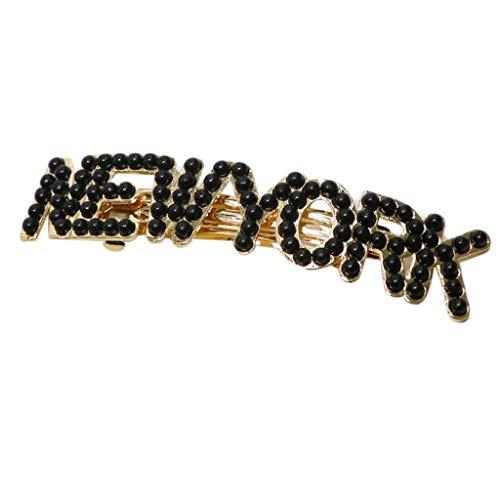 Yanhonin Haarspange, Frühling, Metallic, für Damen, Haarspange mit Perle, Banane, mit Buchstaben, Vintage Pferdeschwanz D