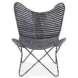 Homy Sessel grau Leder Ziegenleder Butterfly Metall Metallgestell schwarz Vintagelook - Buddafly