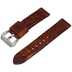 22mm Brown Woven Italian Leather Watch Band with Satin Finished Stainless Steel Buckle