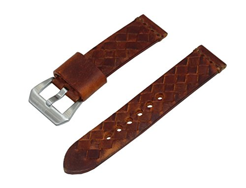 22mm-brown-woven-italian-leather-watch-band-with-satin-finished-stainless-steel-buckle