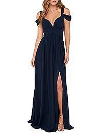 CLOCOLOR Vestido largo A-line cóctel para mujer vestido maxi de gasa con hombros descubiertos vestido de noche playa fiestas de moda