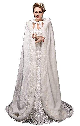 ShineGown Weiss Damen Umhang Hochzeit Mantel mit Kapuze Winter Lange Jacke Braut Wraps Warm Faux Fuer Cape