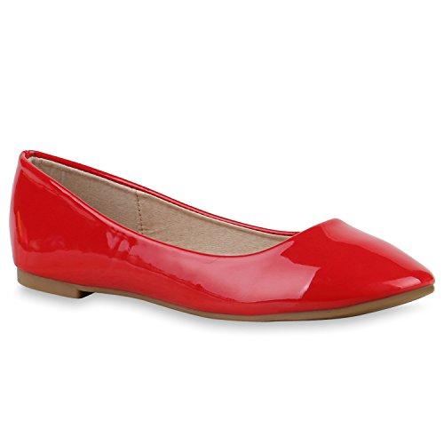 Klassische Damen Ballerinas Lederoptik Bequeme Schuhe Freizeit Übergrössen Glitzer Lack Party Schuhe Zweitschuhe Hochzeit Abiball Rot Nude