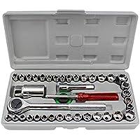 Fansport 40PCS Herramientas De ReparacióN De AutomóViles Heavy Duty Mechanic Tool Set Caja De Herramientas De ReparacióN De AutomóViles