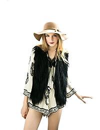 Vlunt mujer piel sintética Chaleco Chaleco Chaleco de Shaggy pelo largo Chaleco Sin Mangas Chaqueta Outwear Chaleco