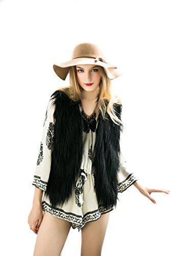 Braune Fell Weste (DINGANG? Damen Kunstpelz Weste Fellweste Winter Waermer Coat Outwear Langhaar Jacke Jacket Waistcoat Tops)