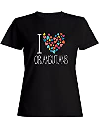 Idakoos I love Orangutans colorful hearts - Tiere - Damen T-Shirt
