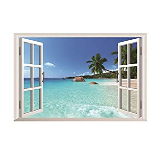 AWAKINK Large Removable Beach Sea 3D Window Decal Home Decor Exotic Beach View Art Wallpaper Mural View Scenery Home Decoration Art DIY Decor Wall Stickers for Bedroom Living Room
