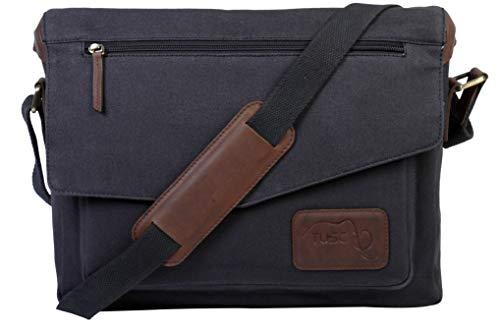 TUSC Triton Segeltuch/Canvas Tasche Laptoptasche 14 Zoll Herren Damen Unisex Umhängetasche Aktentasche Schultertasche für Büro Notebook Messenger Bag Laptop iPad, Größe - 36x28x9 cm - 14 Zoll Laptop-tasche