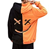 WWricotta Unisex Teen's Smiling Face Fashion Print Hoodie Sweatshirt Jacket Pullover(Orange,XXXXXL)