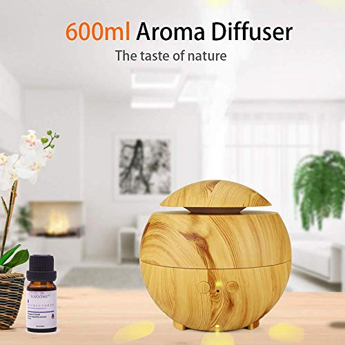 Jackeylove Ultraschall-Meuchtiger 600ml Portable Aromatherapie Diffuser mit Cool Mist und 7 Colour Changing LED-Licht Holz Holz Grain Essential Oil Diffusers Waterless Auto Off Air Purifiers,Brown (Nebel-licht-lampen 899)