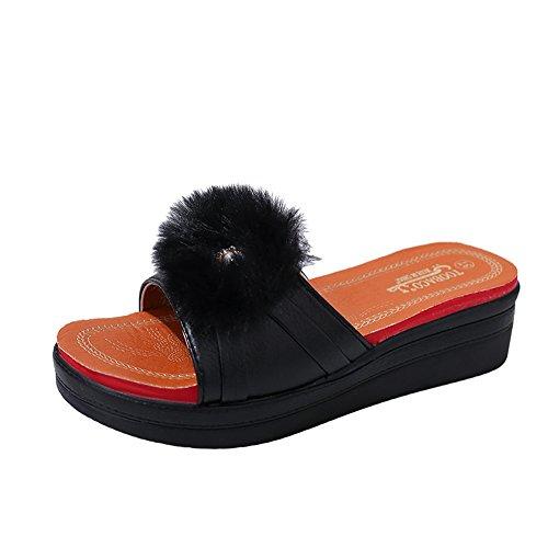 Longra Donna Pantofole piatte a punta rotonda Nero