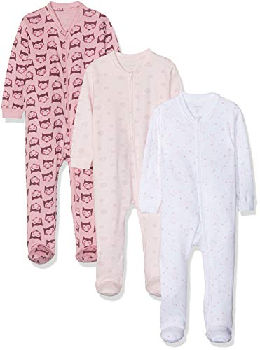 Care Baby Strampler mit Zip im 3er Pack, Pink (Old Rose 556), 74