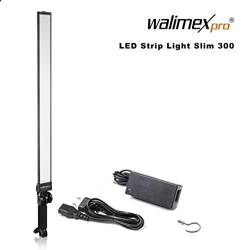 Walimex pro LED Strip Light Slim 300 Daylight - LED Leuchtstab, Strip Light Lichtstab, 30 Watt, 3.300 Lumen, dimmbar, 5600K Tageslicht, Alu Gehäuse, Handgriff neigbar, für Foto- und Video