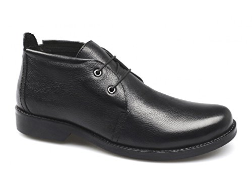 Lucini by Shuperb Alain da uomo in pelle Chukka Low Cut Nero, nero (Black), 39.5