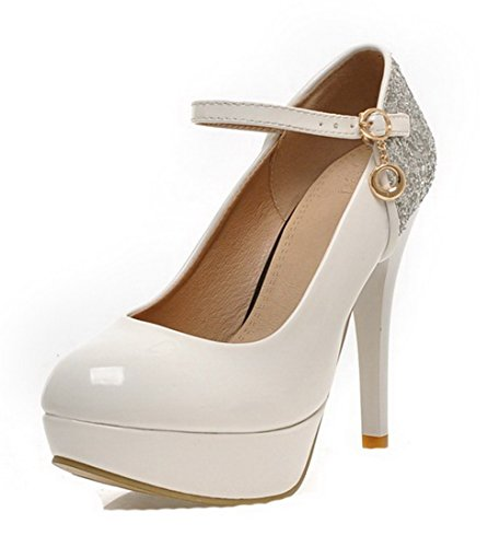 AgooLar Damen Lackleder Rein Schnalle Rund Zehe Stiletto Pumps Schuhe Weiß