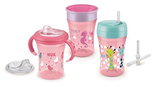 NUK 10225165 Trinkler Set Girl, coffret cadeau avec une tasse de départ, Magic Cup, Fun Cup