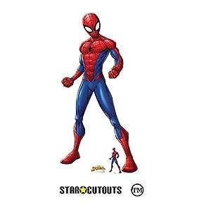 Star Cutouts-SC1414 Star Cutouts Ltd Spider-Araña de cartón con Corte de tamaño Real para Hombre, diseño de spiderman, 179 cm de Alto, 85 cm de Ancho, Color (SC1414)