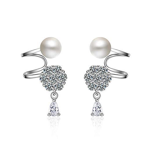 Bishilin Damen Ohrringe Perlen Zirkonia Schneeflocken Ohrklemmen Silber Ear Cuff - Ear Schneeflocke Cuff