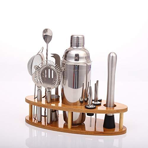 Mini Martini-shaker (Cocktail Shaker Edelstahl Cocktail Cup Mixer 11-teiliges Set mit Holzständer für Bar Party Bartender Tools Barzubehör)