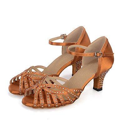 Silence @ Chaussures de danse pour femme ventre/latine/Jazz/danse Sneakers/moderne/Samba satiné évasée Heelblack gris