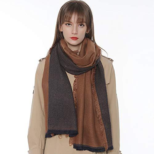 Qpw Lady Autunno e Inverno Sciarpa, Colore Corto Seta bifacciale, Ispessito, Caldo, Asciugamano 175 * 50cm