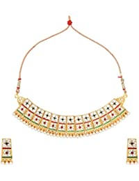 Dancing Girl Antique Bridal Maroon Green Metal Alloy Jewellery Set With Necklace And Earring For Women