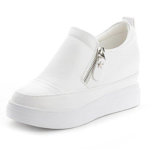 Damen Lässige Einfache Überall-passend Slip On Reißverschluss Plateau Dicke Sohle Aufzug Sneakers Weiß