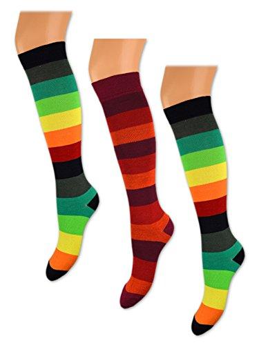 3 bis 15 Paar Damen Kniestrümpfe Bunte Ringel Baumwolle ohne Gummibund ohne Naht - 4043 (39-42, 12 Paar - Bunte Ringel)