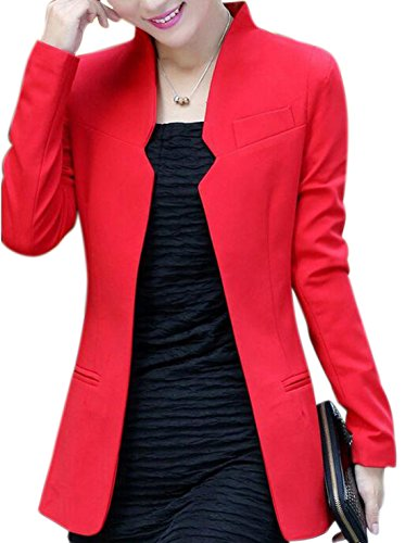 Aisuper Womens Long Sleeve Cardigan Blazer Jacket Suits Coat Outerwear Medium Red