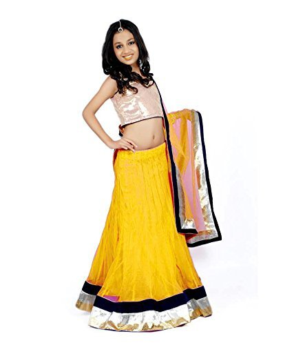 Kid's Clothing Lehenga choli Designer Party Wear Today Offer Low Price Sale Yellow Color Net Fabric Silk Inner Free Size Girls Ghagra Choli  available at amazon for Rs.219