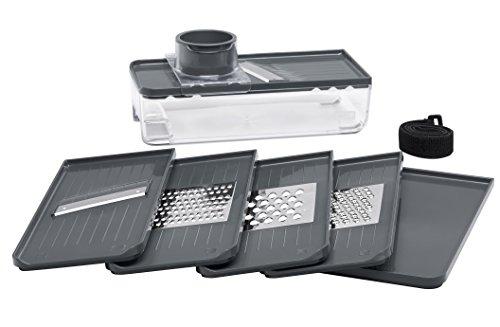 Lurch 220810 Multireibe mit fünf Klingen und Deckel, Kunststoff, Iron Grey / Weiß, 12 x 33 x 10 cm
