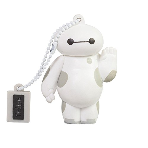 Tribe Disney Big Hero 6 Baymax - Memoria USB 2.0 de 16 GB Pendrive Flash Drive de goma con llavero, color blanco