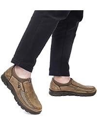 Gracosy Mocasines para Hombre Zapatos de Cuero Casual de los Hombres Zapatos Planos Mocasines Zapatos de