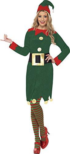 SMIFFYS Smiffy's - Costume per travestimento da elfo incl. vestito, cappello e cintura, Donna, taglia: M
