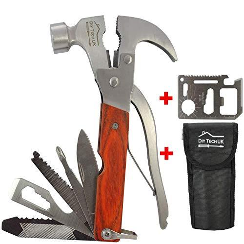 DIY TECH UK - 17-en-1 - Marteau Outil Multifonction + Outil 14-en-1 GRATUIT - EXTRA FORT Acier à Haute Teneur en Carbone - Pinces, Ouvre Bouteille, Couteau, Scies, Tournevis, Clés - Avec Poch