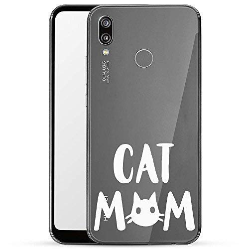 Finoo Hülle für Huawei P20 Lite - Handyhülle mit Motiv und Optimalen Schutz  Tasche Case Hardcase Cover Schutzhülle - Cat mom weiß