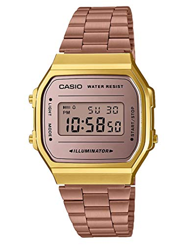 Casio Unisex Erwachsene Digital Quarz Uhr mit Edelstahl Armband A168WECM-5EF - Casio Gold Frauen Uhren