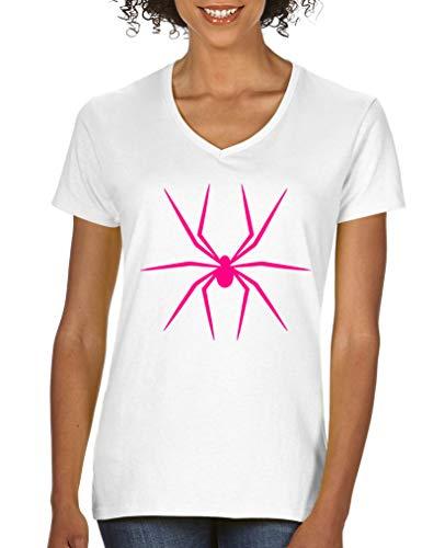 Comedy Shirts - Halloween Spinne - Damen V-Neck T-Shirt - Weiss/Pink Gr. S (Pink Halloween Tochter S)