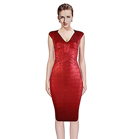 Bandage Dresses For Women Party Bodycon Celebrity Chic Luxe Vneck Oil Print Knee Length Dress (S,