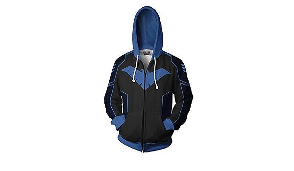 Gift Personality Black and Blue-S Sport Hoodie Zipper Sweatshirt Mens Zipper Hoodie 3D Nightwing Printed Jacket Sports And Leisure Sweatshirt Long Sleeve T-Shirt