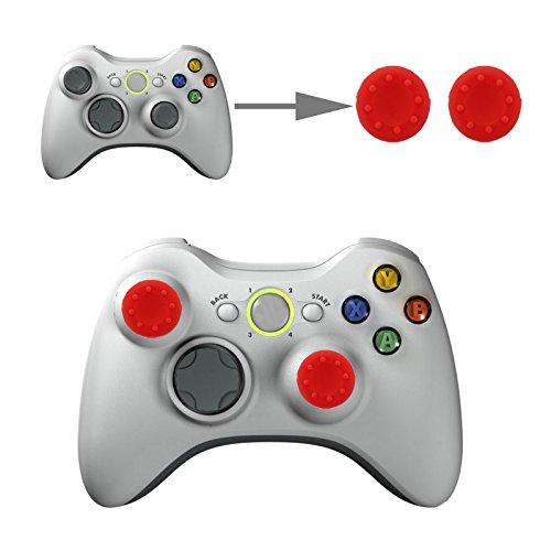 Controller Aufsätze Thumb Grip Control Stick Set Kappe Silikon für Sony PS4, PS4 Pro, PS3, PS2, Xbox One, Xbox One X, Xbox 360, Nintendo Switch, Nintendo WII U in Rot von wortek