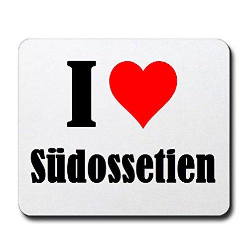 """Exklusive Geschenkidee: Mauspad """"I Love Südossetien"""" in Weiss, eine tolle Geschenkidee die von Herzen kommt- Rutschfestes Mousepad- Weihnachts Geschenktipp"""